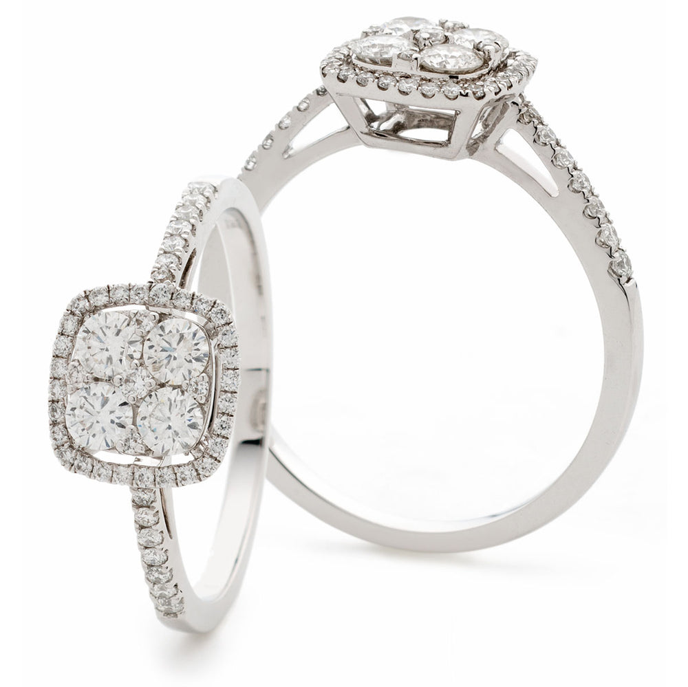 Cushion Shape Halo Cluster Ring 0.60ct