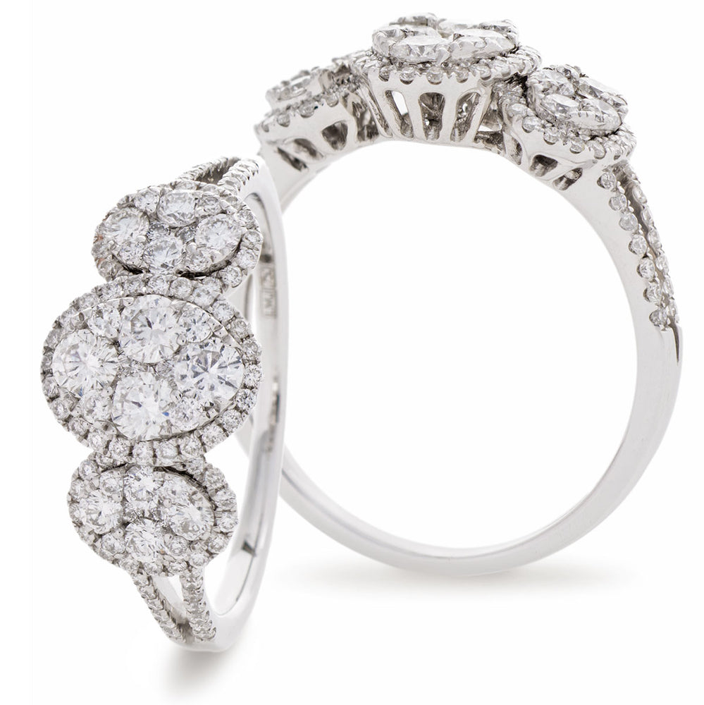 Trilogy Oval Halo Cluster Ring 0.95ct