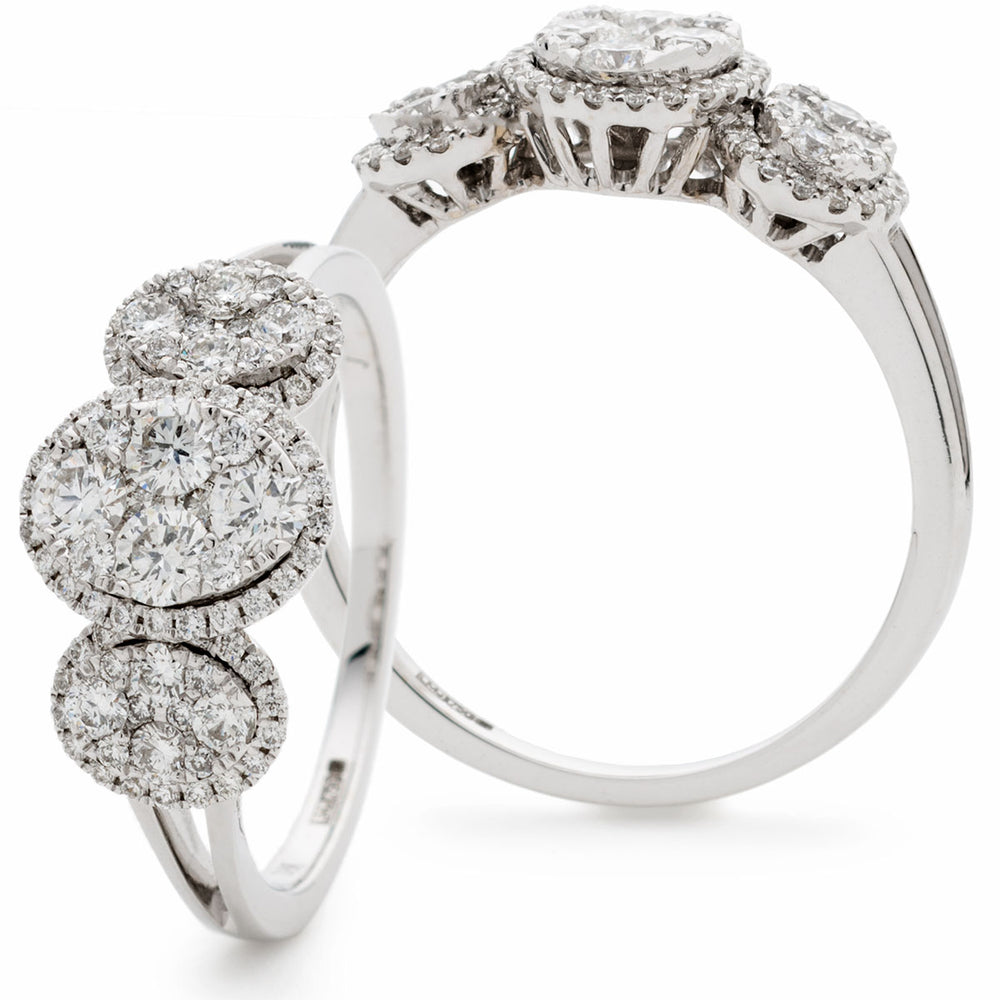 Trilogy Oval Halo Cluster Ring 0.80ct