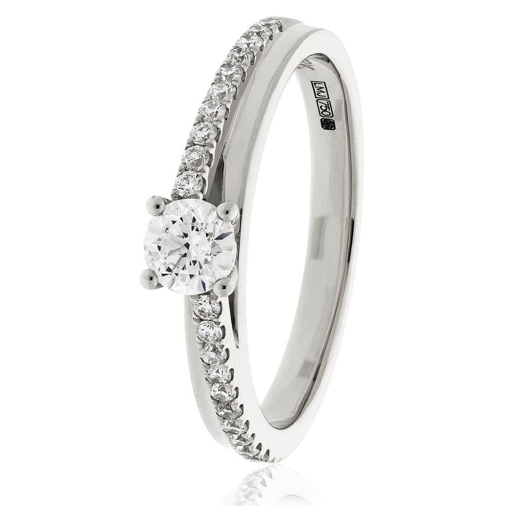 Engagement Ring with Pave Set Shoulders 0.30ct