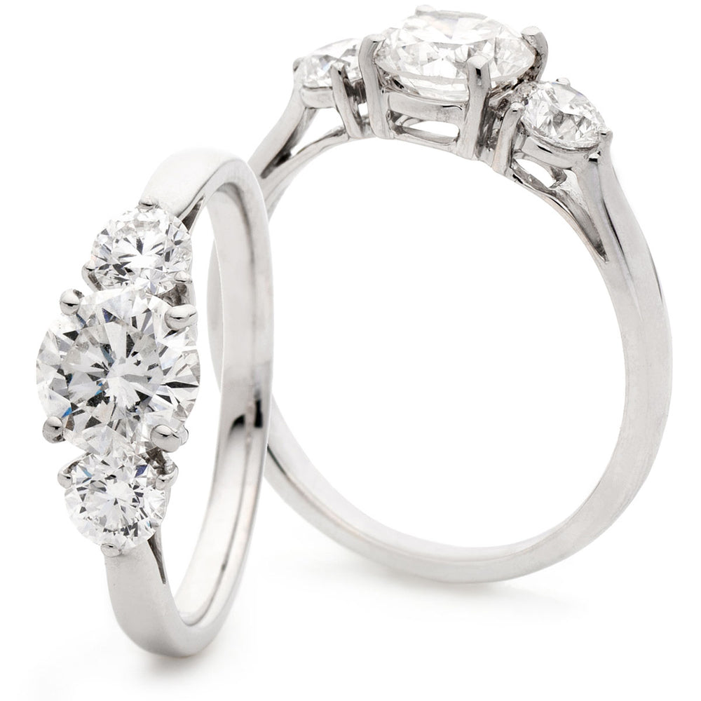 Double Gallery Three Stone Ring 1.50ct