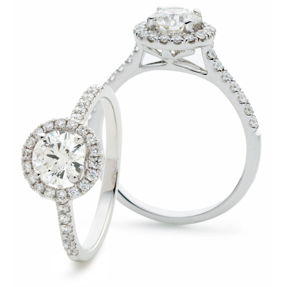 Round Halo Engagement Ring 0.65ct