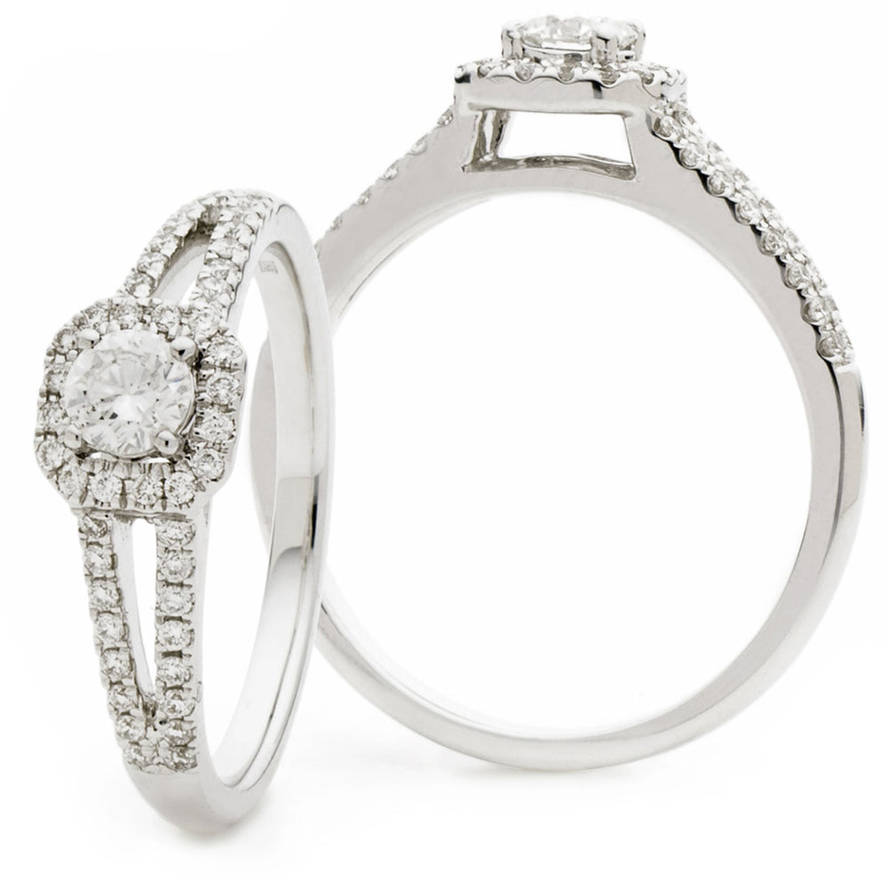 Halo Diamond Engagement Ring with Split Shoulders 0.55ct