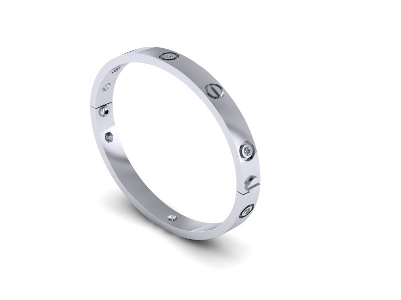 UK Made Screw Bangle (Alternate Diamond/Screw)