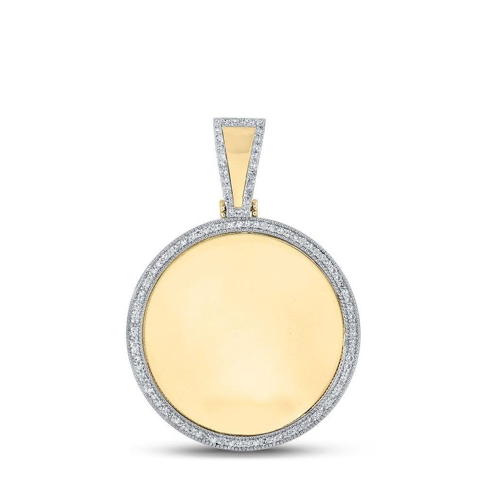10k Yellow Gold Round Diamond Circle Picture Memorial Pendant 0.65ct(Picture / Photo Pendants)
