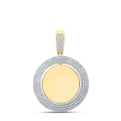 14k Yellow Gold Round Diamond Circle Picture Memorial Pendant 1ct(Picture / Photo Pendants)