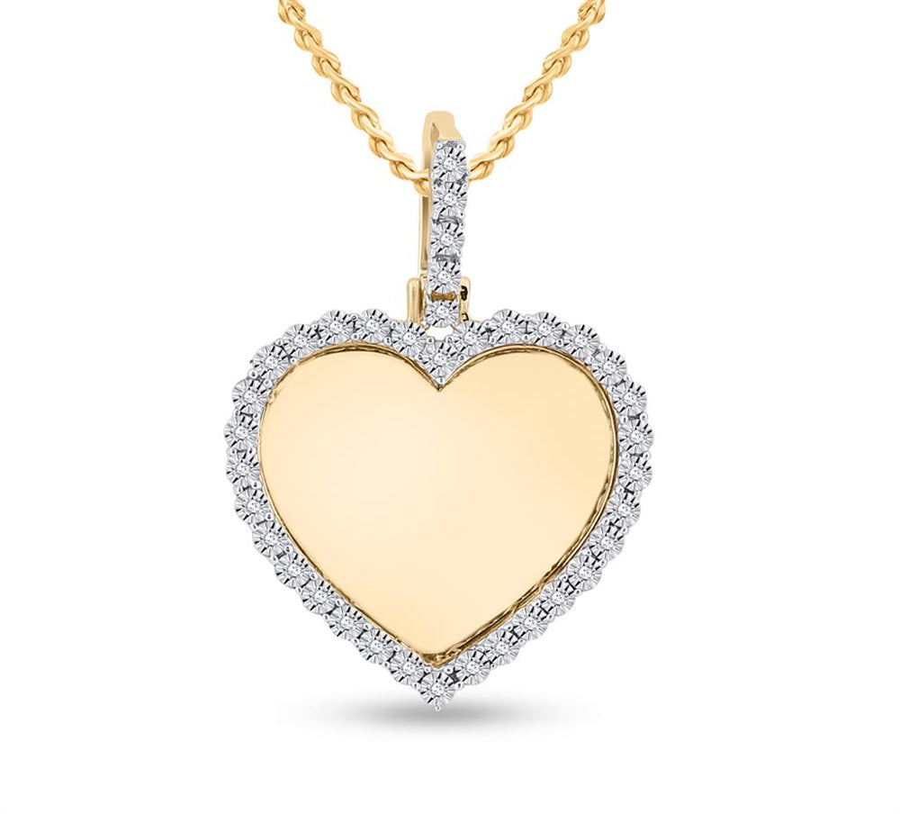10k Yellow Gold Round Diamond Picture Memorial Heart Charm Pendant 0.10ct(Picture / Photo Pendants)