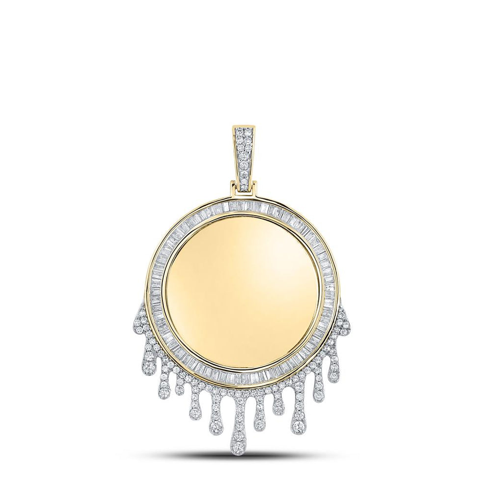 10k Yellow Gold Baguette Diamond Dripping Circle Picture Memorial Pendant 1.85ct(Picture / Photo Pendants)