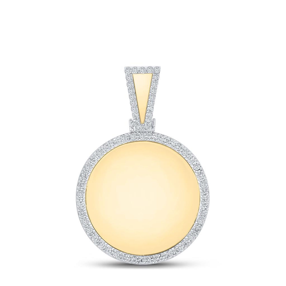 10k Yellow Gold Round Diamond Picture Memorial Circle Charm Pendant .85ct(Picture / Photo Pendants)