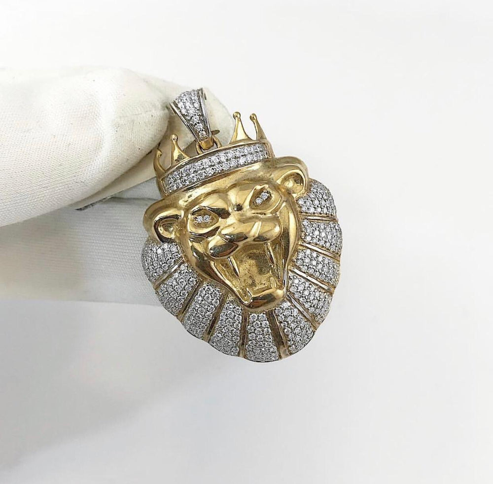 9ct Yellow Gold Diamond King Of The Jungle (Lion) Pendant