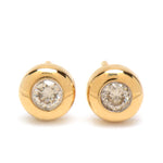 9ct Yellow Gold 0.30ct Rubover Set Diamond Stud Earrings