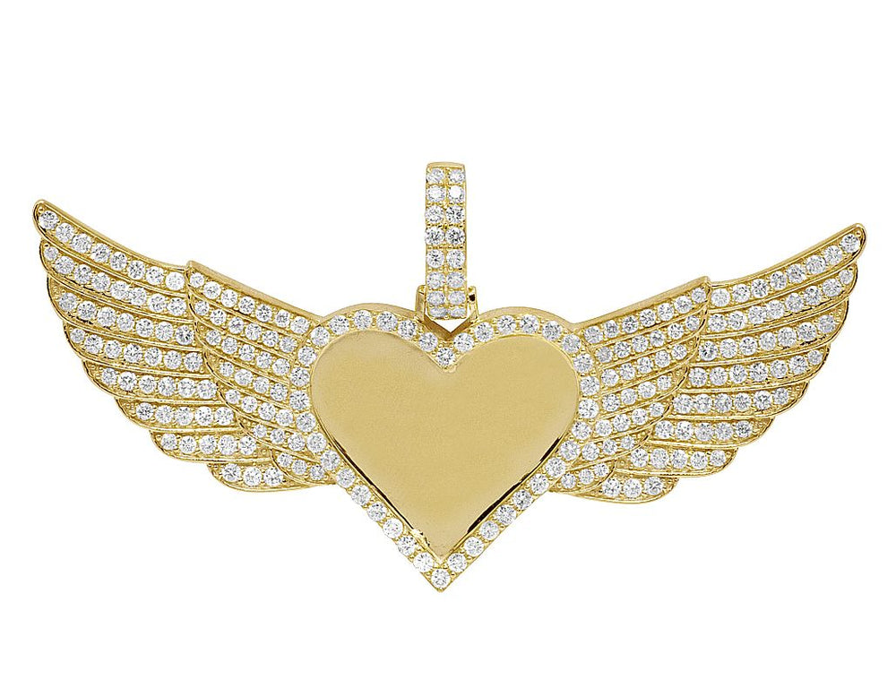 10K Yellow Gold Diamond Heart Photo Engrave Wing Memorial Pendant 3.50Ct.(Picture / Photo Pendants)