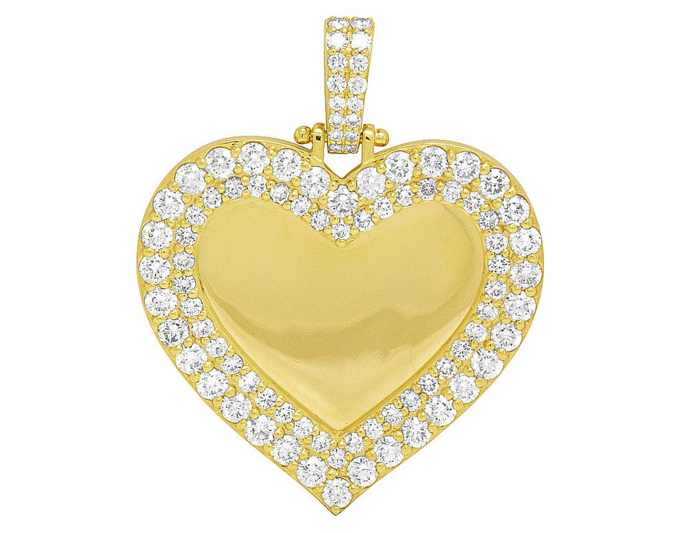 14K Yellow Gold Memorial Frame Heart Photo Engrave Pendant 6 CT(Picture / Photo Pendants)