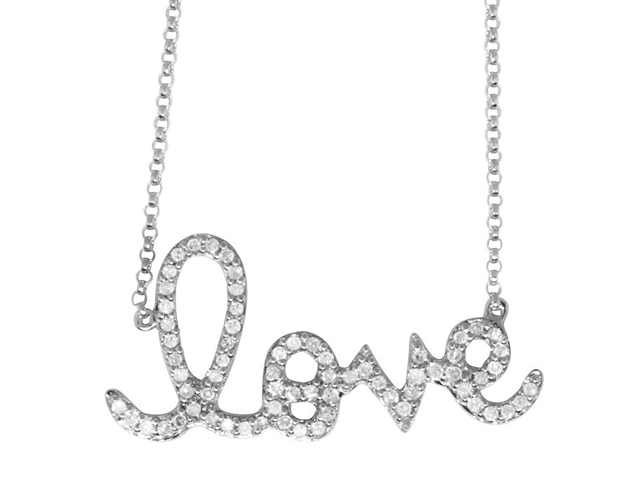 14K White Gold Ladies Love Charm Necklace .45 ct