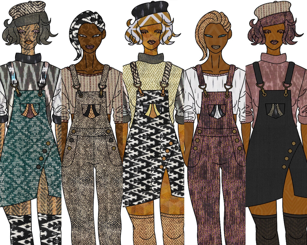 Illustrated picture of women wearing dress overall and pant overalls with lots of patterns and colors