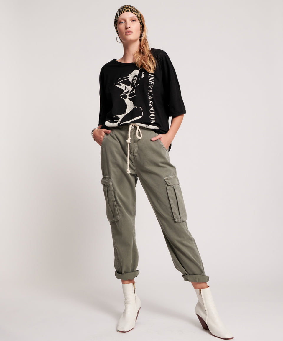 One Teaspoon Dark Khaki Cargo Safari Mid Waist Relaxed Pant