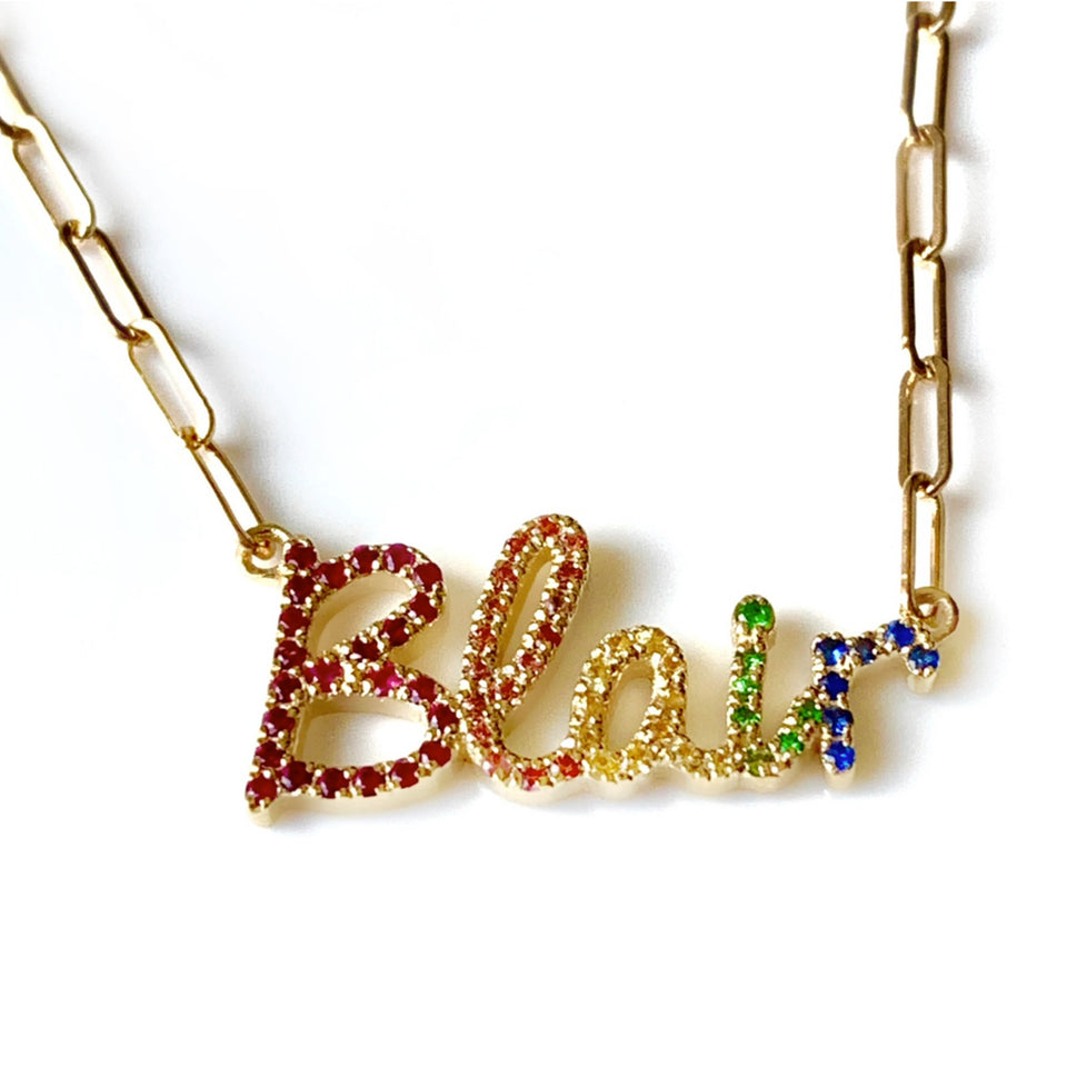 Rainbow Script Name necklace