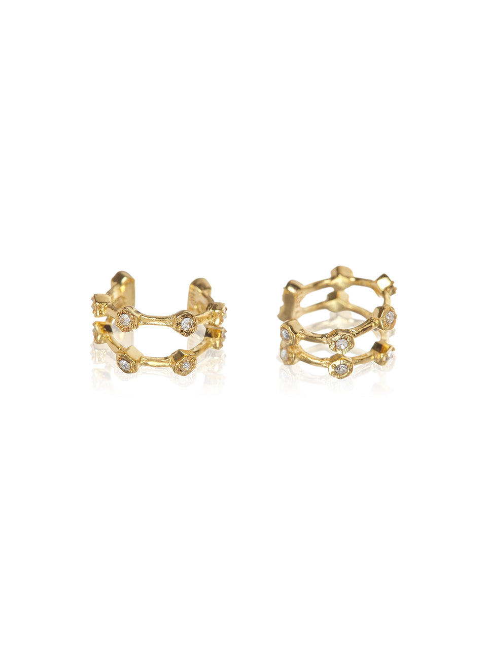 Luv AJ Pave Hex Ear Cuff Gold