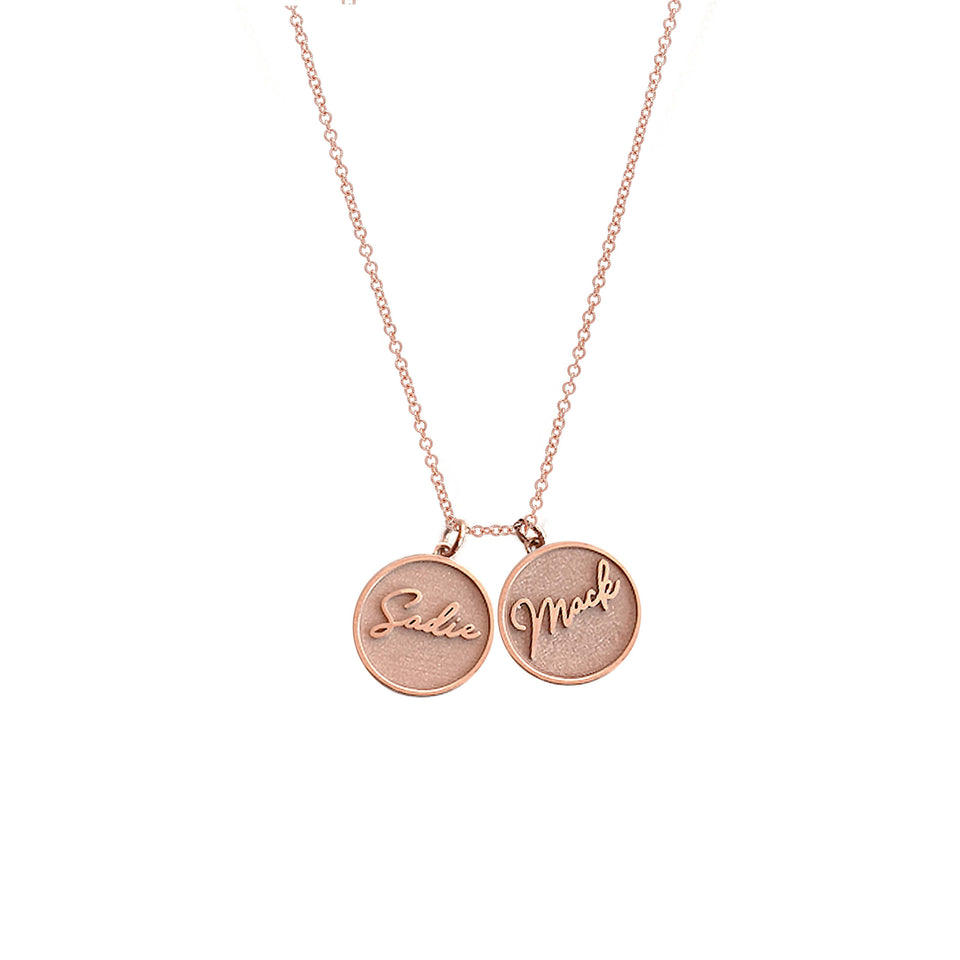 Treasure Disk Two Name Plate Necklace Solid Gold