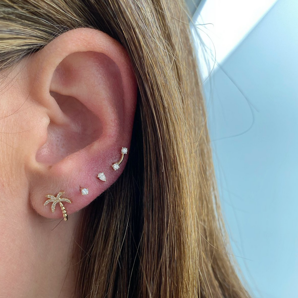 Double Solitaire Stud Earring Right Ear