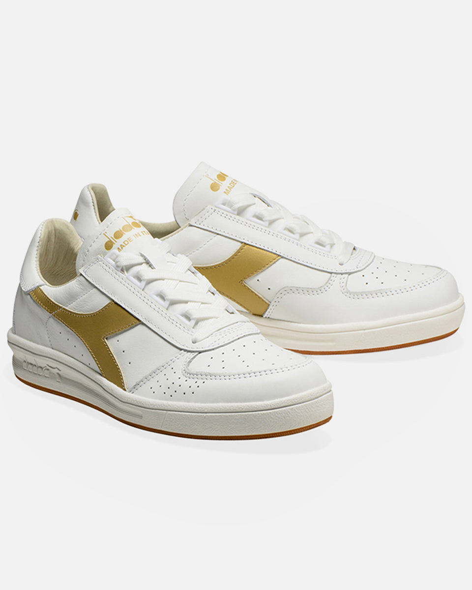 B.Elite H Italia Sport- White And Gold Low Top Sneaker