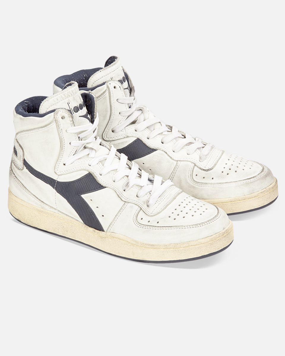 Mi Basket- White And Navy Hi-Top