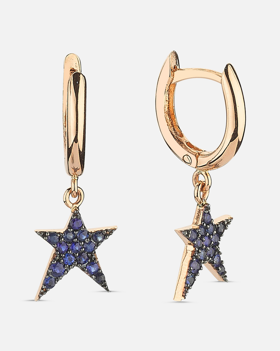 Rock Star Earrings Blue Sapphire