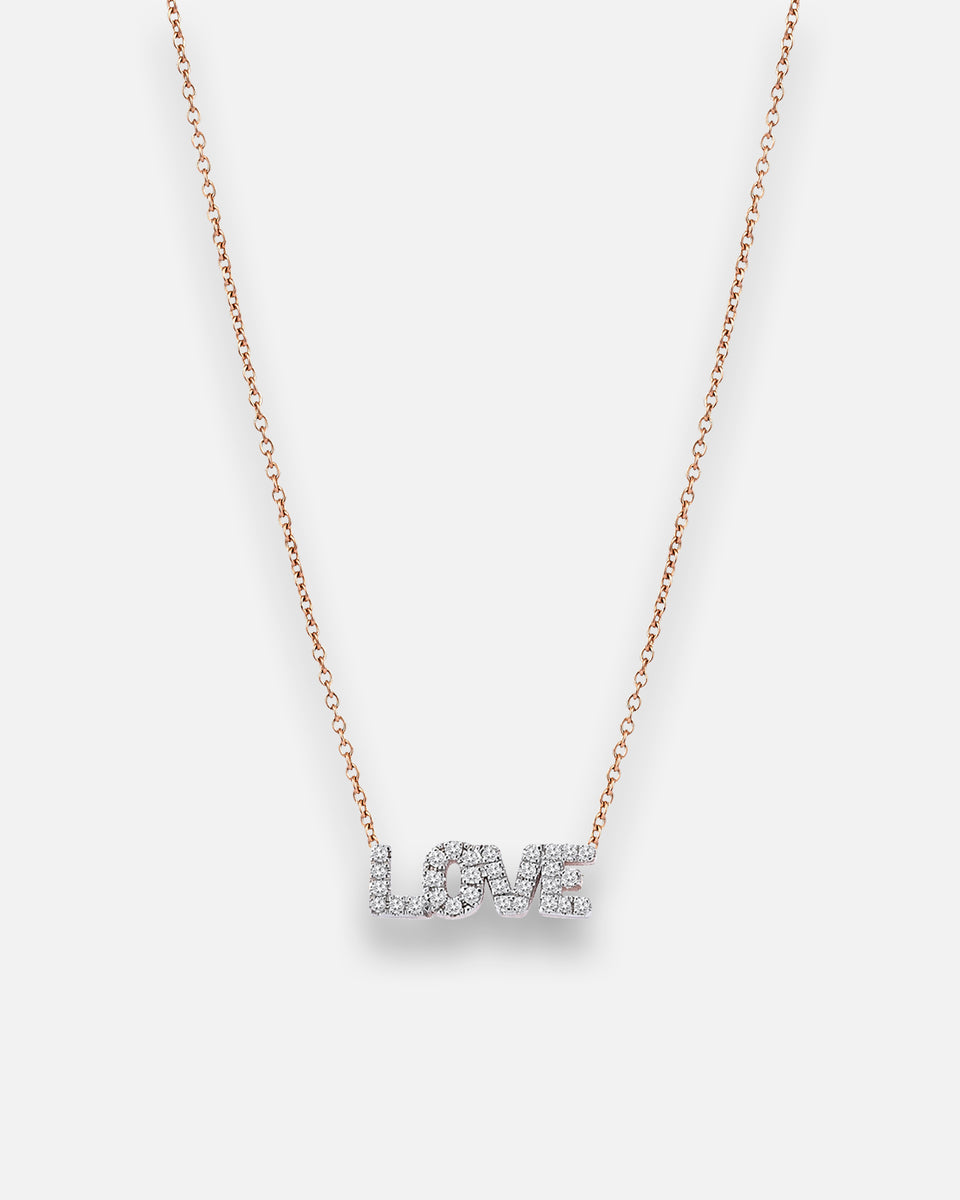 Love Necklace With White Diamond