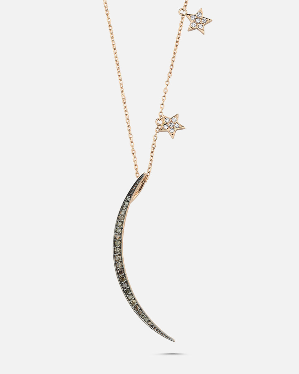 OWN Your Story Sliver Diamond Moon with Stars Pendant