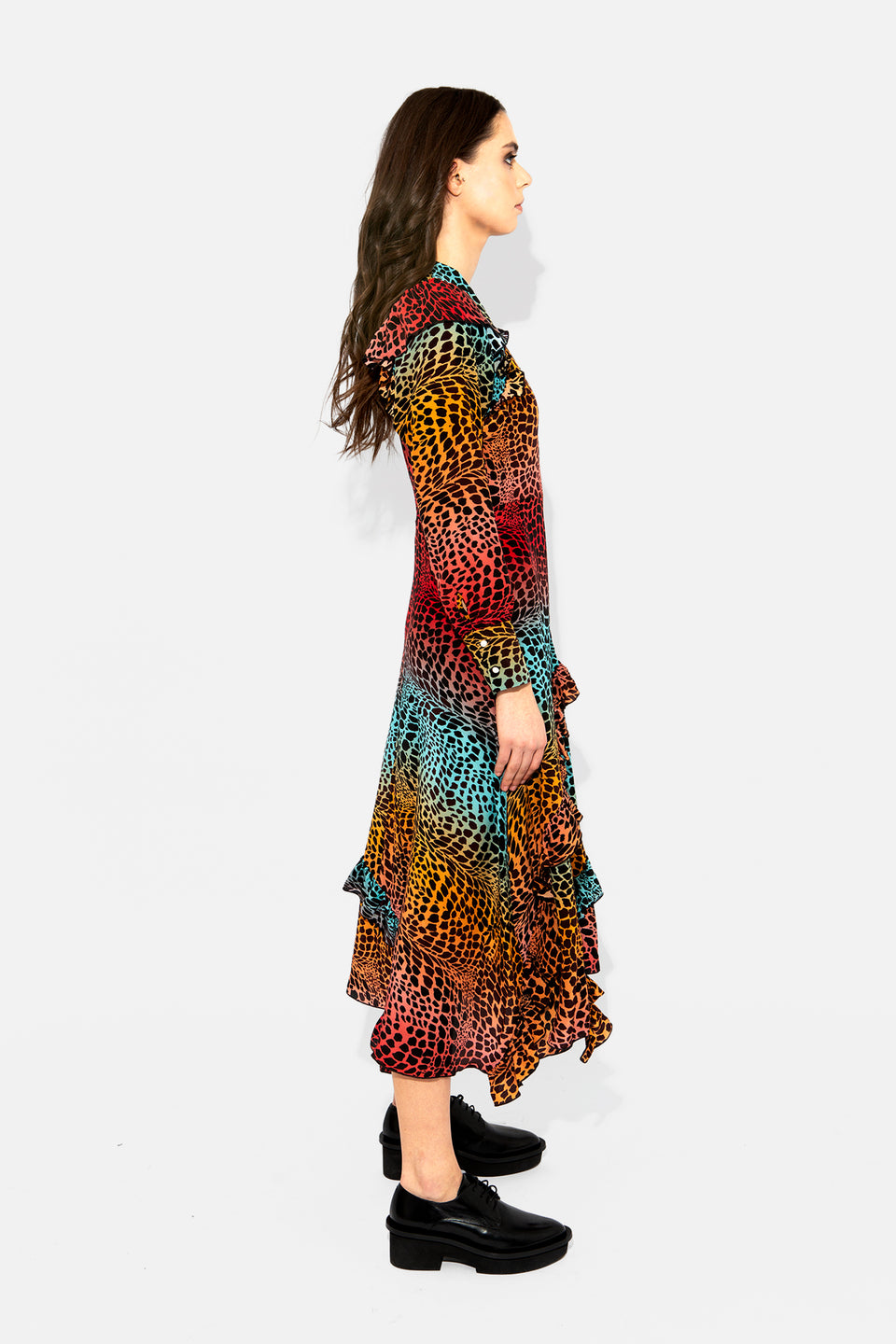 Ombre Crocodile Midi Frill Dress