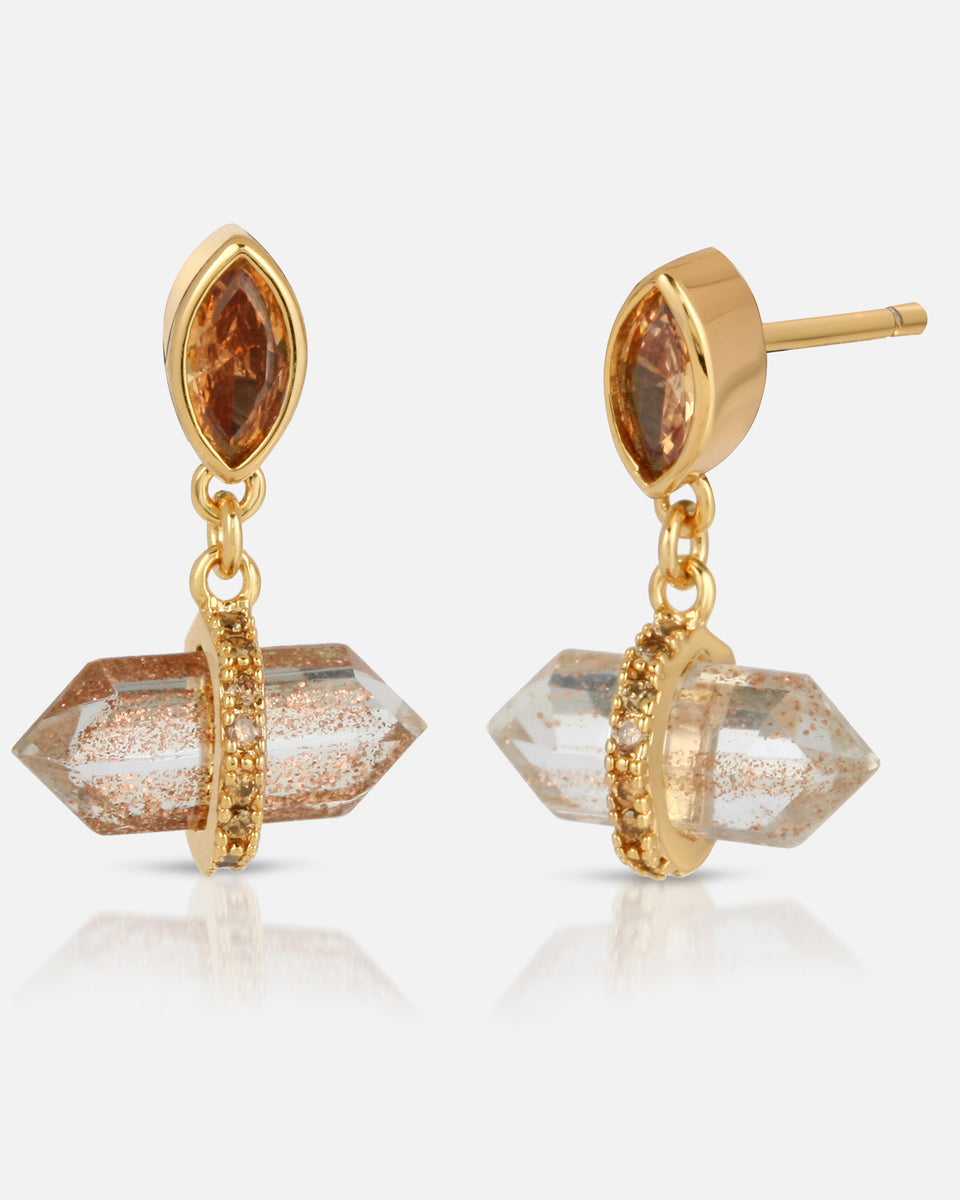 Noveau Drop Earring - Rutilated Quartz