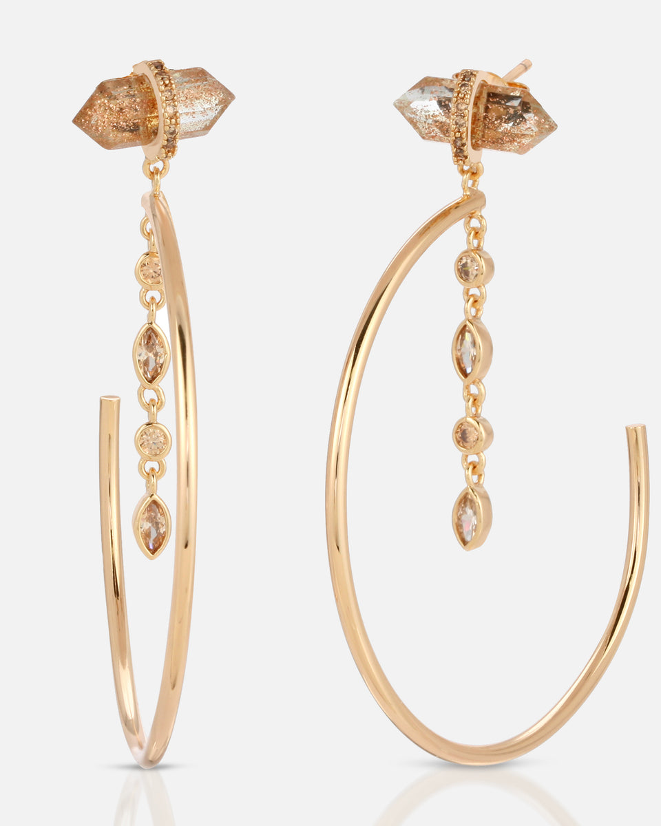 Noveau Hoops - Rutilated Quartz