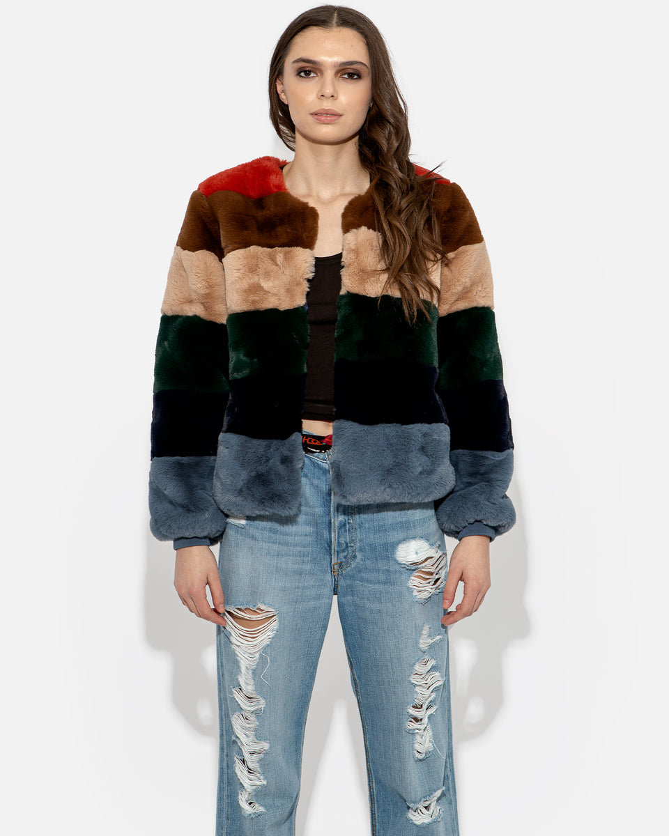 Faux Fur Multicolor Short Coat