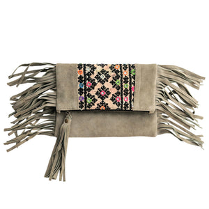578 PIPPA - GREY FOLD-OVER CLUTCH