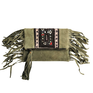 580 PIPPA - OLIVE FOLD-OVER CLUTCH