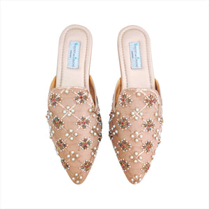 697 RANI BEADED MULES - Gold