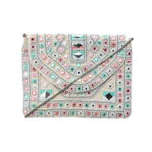 "570 ""ANNA"" - PEACH CROSS-BODY CLUTCH"