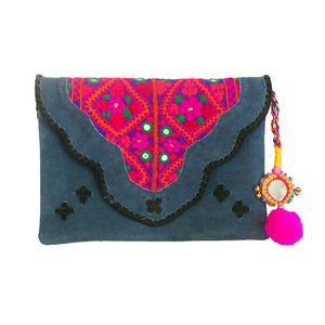 583 EMMA - BLUE SUEDE CLUTCH
