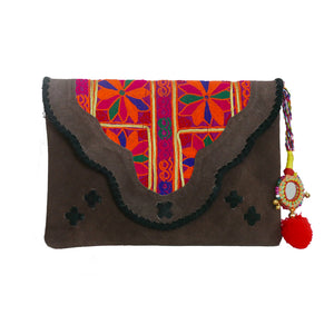 582 EMMA - BROWN SUEDE CLUTCH