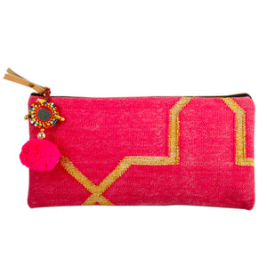"584 ""PINK"" HANDWOVEN CLUTCH"