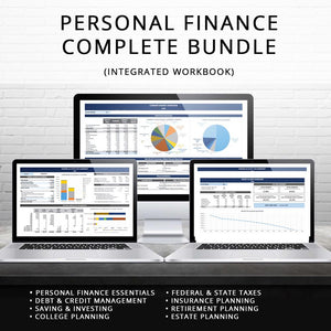 Manage your entire financial life with this easy to use spreadsheet. This Excel workbook will help you manage everything from budgeting, cash flow, tax projection, retirement planning and more!