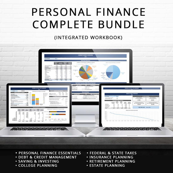 2020 Personal Finance Spreadsheet Complete Bundle (Integrated)