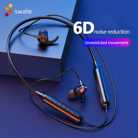 Swalle Bluetooth 5.0 Wireless Sports earphone Stereo Subwoofer Hanging Neck Hanging Metal Magnetic Bluetooth Headphone - 24SevenDeals