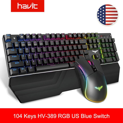 HAVIT Gaming Mechanical Keyboard 104 Keys RGB Light Blue / Red Switch Wired Keyboard or Keyboard Mouse Set Ru / English Version - 24SevenDeals