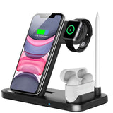 15W Qi Fast Wireless Charger Stand For iPhone 11 XR X 8 Apple Watch 4 in 1 Foldable Charging Dock Station for Airpods Pro iWatch - 24SevenDeals