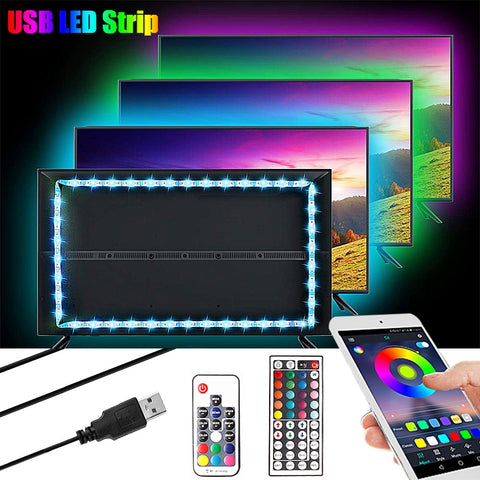 1M 2M 3M 5050 USB LED RGB Strip Light 5V TV Backlight Lighting Neon RGB LED Tape Music/Bluetooth/RF Controller Led Stripe Light - 24SevenDeals