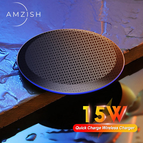 amzish 15W Fast QI Wireless Charger For iPhone 11 Pro 8 X XR XS Max 15W USB Quick Wireless Charging Pad For Samsung S10 S9 Note9 - 24SevenDeals