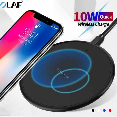 10W Fast Wireless Charger For iphone 11 8 Plus Qi Wireless Charging Pad For Samsung S10 Huawei P30 Pro Phone Charger Adapter - 24SevenDeals