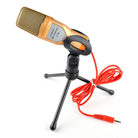 New Condenser Microphone 3.5mm Plug Home Stereo MIC Desktop Tripod for PC YouTube Video Skype Chatting Gaming Podcast Recording - 24SevenDeals