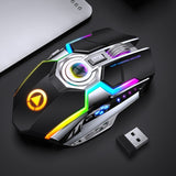 Gaming Mouse Rechargeable Wireless Mouse Silent 1600 DPI Ergonomic 7 Keys RGB LED Backlit 2.4G USB Optical For Laptop Computer - 24SevenDeals